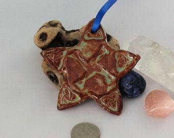 Brigid's Cross Ceramic Ornament - brown and green