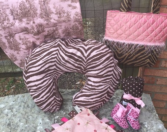 Baby girl Gift Set, Clearance Gift Set, Pink and Brown Gift Set, car seat cover, diaper bag, baby blanket
