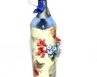 Large Cobalt Blue Recycled Wine Bottle Decorated Gift Handmade Butterfly Floral