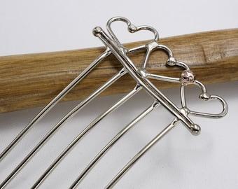 3 hearts hair fork