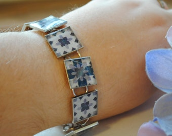 Purple  Patchwork Quilt Block Bracelet
