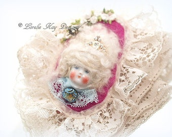 Marie Style Art Doll Brooch Marie Antoinette  Jewelry Sugary Sweet Assemblage Art Doll  Jewelry Pin Lorelie Kay Original