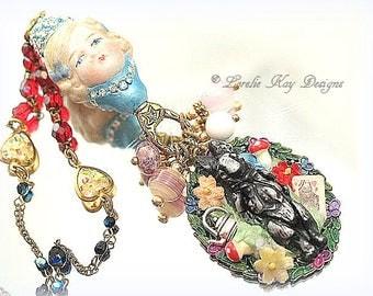 Alice in Wonderland Necklace Assemblage Rabbit Pendant Whimsical Alice Lorelie Kay Original