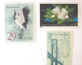 Unused Wedding Postage 2017 rate 2 oz, White Magnolia - Crane - NYC Bridge Stamps, Mail 20 Invitations, 70 cents bluegreen vintage postage
