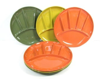 SALE Vintage lacquer ware divided plates, Japan lacquer ware, mid century modern plates, set of 6, orange, avocado, chartreuse