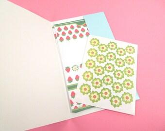 Vintage Just a note stationary set, strawberry stationary, Current stationary, folding letter, 1980s stationary set