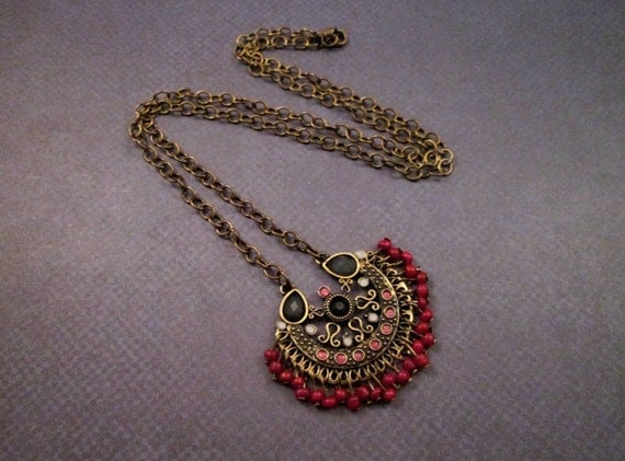 Bali Style Necklace, Beaded Fringe Pendant Necklace, Brass Chain Necklace, FREE Shipping U.S.