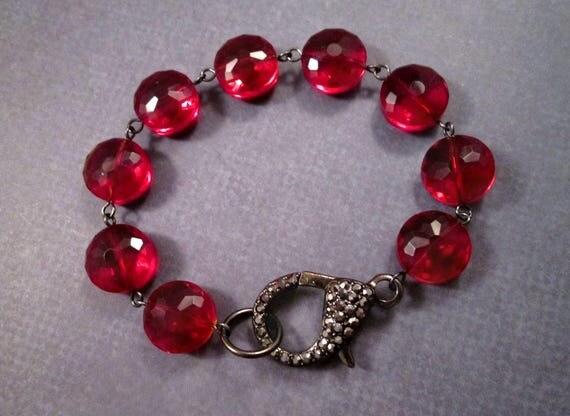 Chunky Red Bracelet, Faceted Glass Pillow Beads and Pave Rhinestone Clasp, Gunmetal Silver Beaded Bracelet, FREE Shipping U.S.