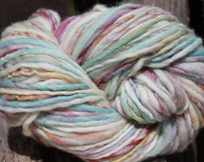 Handspun and dyed Falkland yarn. Next to skin soft. Appx. 4oz /140 yards. Heavy Worsted Weight. F168