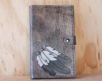 Custom Leather Journal - Personalized Moleskine Journal Cover in the Emily Pattern - Feathers and Wood Grain - Third Anniversary Gift