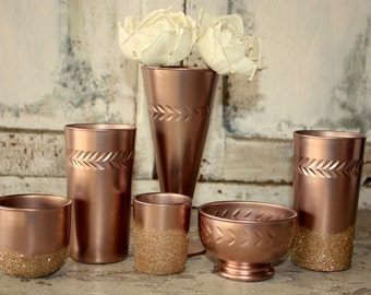 Rose Gold wedding decor, Set of 6 rose Gold dipped vintage vases and votive candle holders, table decorations, rose gold, glitter, upcycled