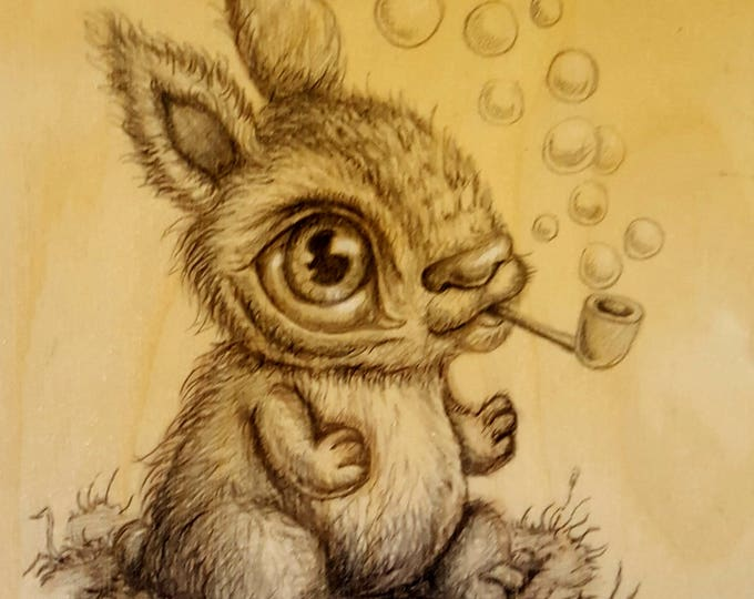 Bubble Bunny - Original drawing on wood by Mr. Hooper of Nashville, Tennessee