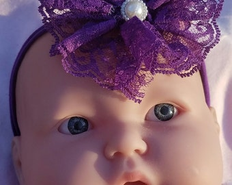 Adorable Purple Headband with Purple Lace and a White stone