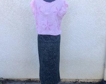 Vintage 80s grey metallic print wiggle skirt / avant garde / club kid / street fashion / 50s style / high waist