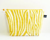 Wedge Bag, Mini Knitting Project Bag, Willow on yellow