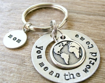 You Mean the World to Me Keychain, earth charm, couples gift, gift for Mom, gift for Dad, best friend gift, bff gift, optional initial disc
