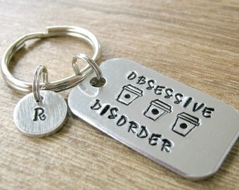 Personalized Coffee Lover's Keychain, Coffee Keychain, Obsessive Coffee Disorder, Caffeine, Coffee Humor, Coffee addiction, initial disc