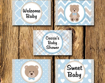 Printable Blue Teddy Bear Baby Boy Shower Mini Candy Bar Wrappers