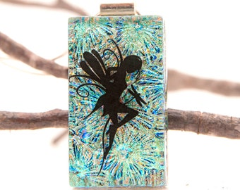 Fairy Pendant-  Dichroic Pendant - Faerie - Fairy Jewelry-  Fused Glass Jewelry - Dichroic Glass Necklace - Fused Glass