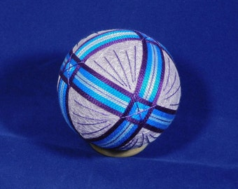 Rattling Temari Ball Ornament Bands of Purple and Blue Home Decor Wedding Gift