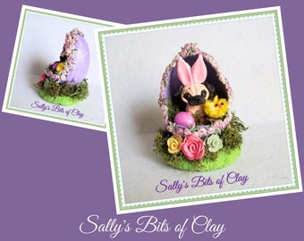 READY to SHIP! One of a Kind Fawn Pug dog Easter Bunny in Egg sculpture by Sally's Bits of Clay