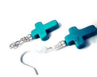 Turquoise colored natural stone cross earrings free shipping