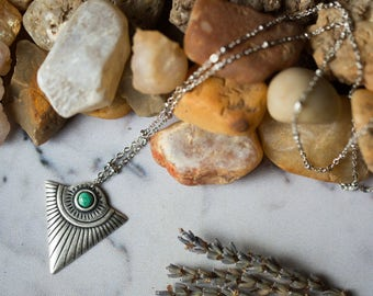 Artemis Triangle Turquoise Shield Pendant Necklace - Travel Totem, Protective Charm - December Birthstone, Boho Jewelry, Natural