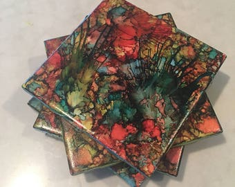 Colorful Alcohol Ink Tile Coasters Set Of Four Handpainted