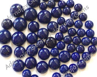 Gemstone Cabochon Lapis 6mm Round FOR TWO