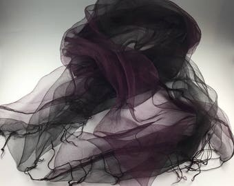 Burgundy and Black Silk Organza Doublecloth Scarf Hand Dyed with Cochineal Plant Dye