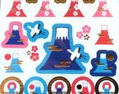 Mount Fuji Stickers - Japanese Washi Paper Stickers - Chiyogami Stickers - Mountain Stickers  (S208)