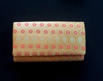 Vintage Japanese Kimono Clutch - Japanese Clutch - Bridal Clutch - Vintage Bag - Bridal Bag - Gold Red Green Clutch