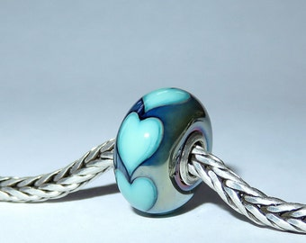 Luccicare Lampwork Bead - Shining Hearts -  Lined with Sterling Silver