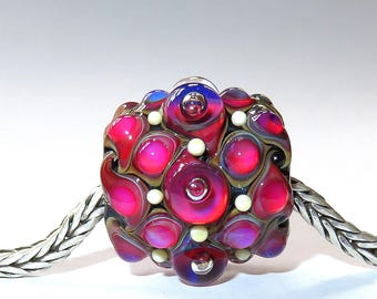Luccicare Lampwork Bead - Yasmine - FOCAL - Lined with Brass