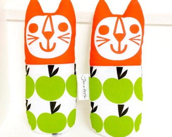 New Scandi Toy Cats by Jane Foster - cotton and linen cat fabric