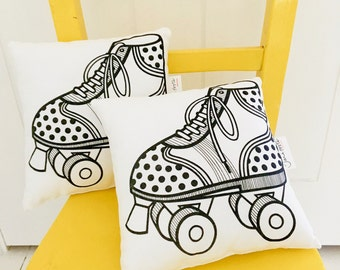 Mini Child's Retro Roller Skate Cushion  / Pillow - Hand Screen Printed by Jane Foster Monochrome