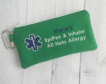 Medical Alert Pouch, Personalized Insulated EpiPen Case, Inhaler Case, Epinephrine, Auto Injector Bag, First Aid Kit, Emergency Medication