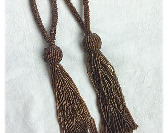 Gold Amber Beaded Tassels
