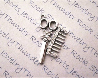 HAIRDRESSER CHARMS, crystals, PENDANTS, comb, scissors, beauty shop charms, hair stylist charms, antique silver, Beautician Jewelry