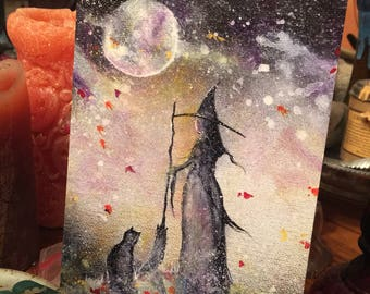 5x7 One Art Print from my Original Painting Cat Victorian Witchcraft Full Moon Witch Halloween Gothic Folk Terri Foss
