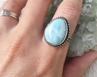 Larimar ring // size 9 //one of a kind // made in byron bay // recycled sterling silver