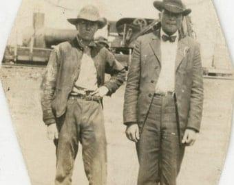 vintage photo 1920 TExas Cowboy & Son Sweetwater Texas Tumbleweed Man Boy