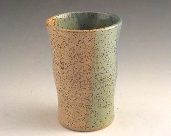 Ceramic Tumbler - Juice Cup - Stoneware Water Glass - Handleless Coffee Cup - Ready to Ship - Speckle Straw Yellow - Robins Egg Blue  m285