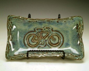 Ceramic Bicycle Butter Dish, Bike Lover Gift, Bike Spoon Rest, Pottery Soap Dish, Hostess Gift