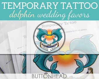 12 Wedding Favors - Beach Tropical Wedding Favors - Dolphin Temporary Tattoos