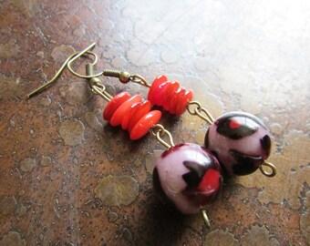 Fiery Cheetah Glass Antique Brass Dangle earrings