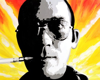 """Hunter S Thompson signed 40""""x14"""" canvas giclee"""