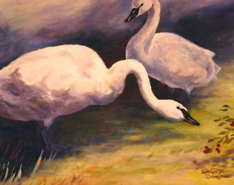 Original oil painting - swans