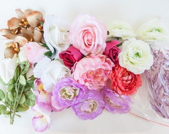 GRAB BAG #7 - 26 Medium to Large Flowers in Mixed Colors - Silk Artificial Flowers