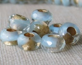 Baby Blue Gold 6x9mm Czech Glass Roller Bead : 10 pc Blue Gold Large Hole Pony Bead